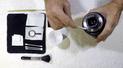 DIY Camera and Lens Care. Stock Footage