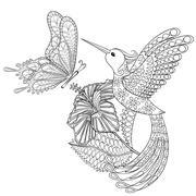 Hand drawn zentangle tribal flying butterfly, Hummingbird in hib - stock illustration