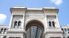 Square of Duomo in Milan Italy - Entrance of Vittorio Emanuele shopping Gallery Stock Footage