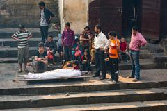 KATHMANDU, NEPAL-APRIL 25: Cremation in Pashupatinath 25, 2016 in Kathmandu,  Stock Photos