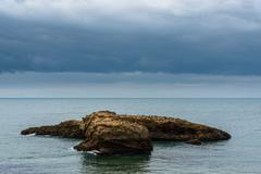 Stormy weather on sea landscape - stock photo
