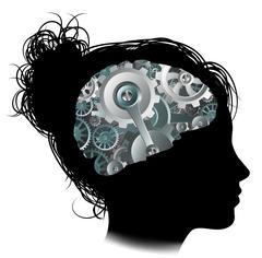 Machine Workings Gears Cogs Brain Woman Concept - stock illustration