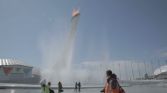 Olympic torch at the World Winter Olympic Games XXII Stock Footage
