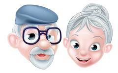 Cartoon Happy Elderly Husband and Wife - stock illustration