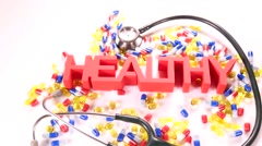 Health concept, Close up of pills and capsules Stock Footage