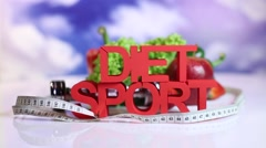 Fresh food and measure tape,Sport diet Stock Footage