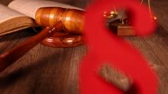 Judge gavel, Paragraph sign symbol - stock footage