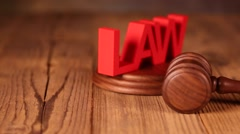 Law theme, mallet of judge, wooden gavel - stock footage
