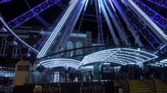 Atlanta Skyview at Olympic Park at night Stock Footage