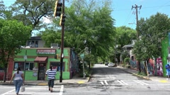 Street view in beautiful Little 5 Points quarter Stock Footage