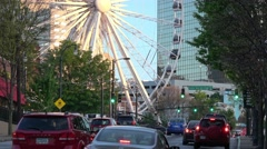Atlanta Olympic Park area with Atlanta Skyview Ferris Wheel Stock Footage