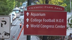 Direction sign to Olympic Park Area Atlanta Stock Footage