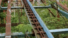 Rack old rollercoaster abandoned - stock footage