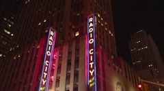 Nighttime view of Radio City Music Hall, Midtown Manhattan, New York City Stock Footage