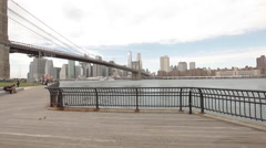 The East River viewed from Empire-Fulton Ferry State Park in Brooklyn Stock Footage