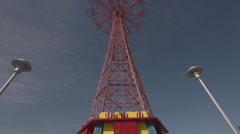 The defunct Parachute Jump ride at Coney Island, Brooklyn, New York City Stock Footage