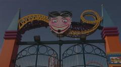 Amusment park entrance at Coney Island, Brooklyn, New York City, New York, USA Stock Footage