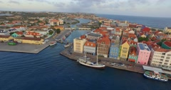 Aerial shot Willemstad Curacao  Stock Footage