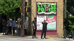 Famous Little Five Points quarter in Atlanta Stock Footage