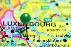 Merzig pinned on a map of Germany - stock photo