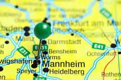Mannheim pinned on a map of Germany - stock photo