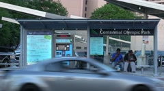 Street Car Stop Centennial Olympic Park Atlanta Stock Footage