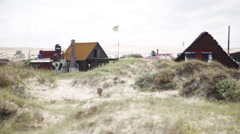 Rustic beach houses Stock Footage