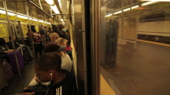 Passengers riding subway Stock Footage