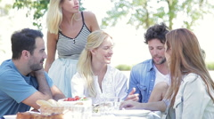 Family and friends spending time together outdoors Stock Footage