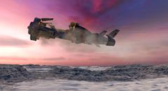 Alien Craft Flying Over A Remote Desert Wasteland - stock illustration