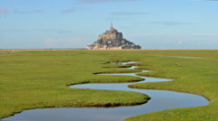 Mont Saint-Michel, France, Video  - The Mont and the River Stock Footage