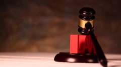 Law and justice concept, wooden gavel Stock Footage