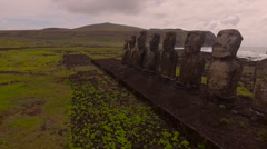Group of 15 restored moai at Tongariki, Easter Island, in the afternoon sunshine Stock Footage