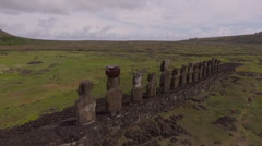 Group of Moai at Tongariki, Easter Island, in the afternoon Stock Footage