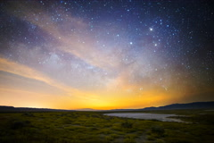 5K Astro Time Lapse of Milky Way & Moonrise over Wildflower Super Bloom - stock footage