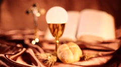 Sacrament of communion, religion background Stock Footage