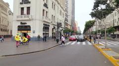 Unidentified beautiful people walking down the street in Lima, Peru Stock Footage