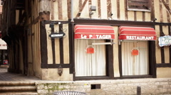 French restaurant in half-timbered building - stock footage