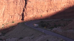 ARCHES NATIONAL PARK, RV motorhome arriving Stock Footage
