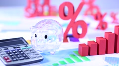 Finance concept, Percent, natural colorful tone - stock footage