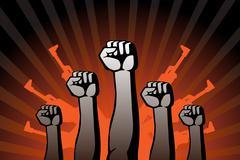 revolutionary agitation - stock illustration
