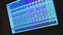 Digital display showing audio mixer levels Stock Footage