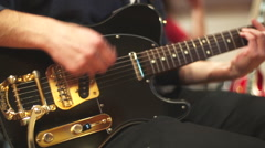 Close-up of man playing electric guitar Stock Footage