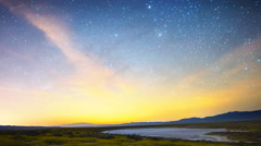 2axis MoCo Astro Time Lapse of Milky Way over Wildflower Super Bloom -Long Shot- Stock Footage