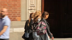 Monza, Italy. Girls Walking Stock Footage