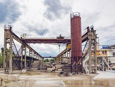 KIEV, UKRAINE - MAY 20, 2016: Old factory for concrete production Stock Photos