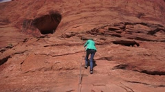 Near ARCHES NATIONAL PARK, rock climbing Stock Footage