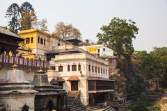 KATHMANDU, NEPAL-APRIL 25: The Pashupatinath Temple 25, 2016 in Kathmandu, Ne Stock Photos