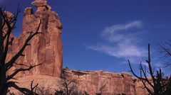 """Three Gossips"" silhouette of dead tree, ARCHES NATIONAL PARK Stock Footage"