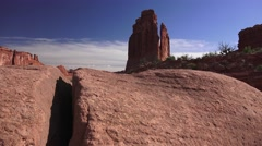 "ARCHES NATIONAL PARK, ""Tower of Babel pan to ""Three Gossips"" Stock Footage"